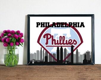 Philadelphia Phillies & Skyline Wall Art, Printable Philadelphia Artwork, Phillies Artwork, Phillies Wall Art, Philadelphia Art, Philly Art