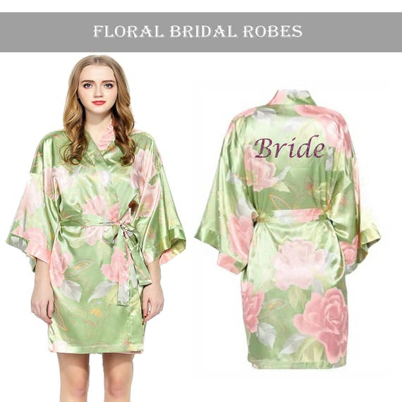 Personalised Vintage Floral Satin Bridal Robes-Olive Green.