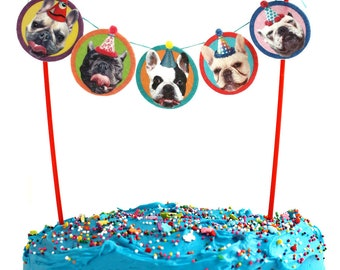 French Bulldogs Birthday Cake Garland - photo reproductions on felt - funny Frenchie portraits birthday party bunting