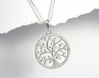 Tree of Life Necklace, Gift for Mom, Gift for Grandma, Gift for Grandmother, Sterling Silver Tree of Life Necklace