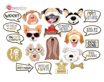 29 Funny Dog Photo Booth Props - Puppy Photo Props - Gold Glitter INSTANT DOWNLOAD - DIY Printable (Pdf)