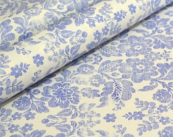 Fine Decorative Italian Wrapping and Craft Paper - Blue Brocade by Rossi