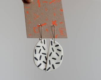 Earrings - Half Moon, Grates - Porcelain Ceramic Hanging Earrings - Black with Stainless Steel Hooks.