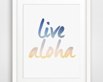 Aloha Print, Live Aloha, Typography Art, Summer Print, Hawaiian Art, Hawaii, Aloha Wall Art, Summer Wall Print, Navy Blue and Yellow Art