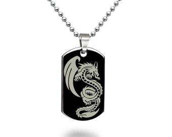 Dragon Dog Tag Necklace, Personalized Engrave Stainless Steel Dog Tag Necklace, Black Dog Tag Necklace, SSN520