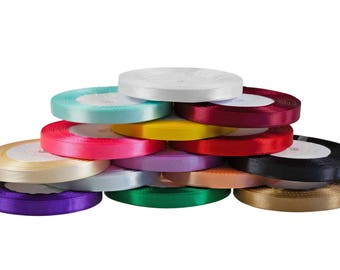 30 m satin ribbon on both sides, width 10 mm, different colors (color: yellow)