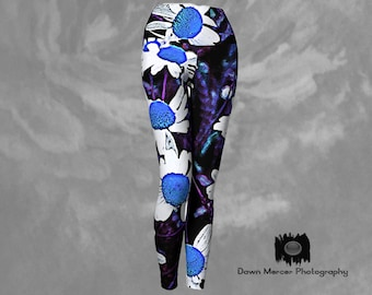 Floral Yoga Pants Leggings Blue Daisy Tights Printed Daisy Flower Leggings High Waisted, Wide Waistband, Compression Fit, Blue White Daisies