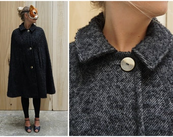 Dramatic Vintage 60's/70's Black and Grey Fuzzy Textured Wool Cape with High Neck and Peter Pan Collar   XS Small Medium Large XL