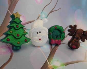 Christmas Soap - Tree Soap - Santa Soap - Reindeer Soap - Wreath Soap - Christmas Favors - Stocking Stuffers - Christmas Guest Soap