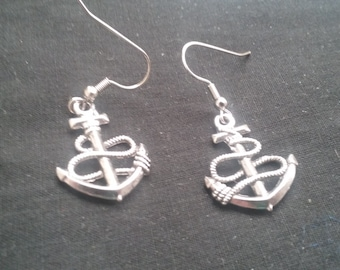 Anchor Earrings, Anchor Jewelry, Nickel Free Earrings, Silver Plated Jewelry