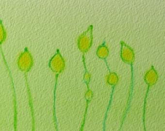 Dictyostelium 2 - original watercolor painting - slime mold