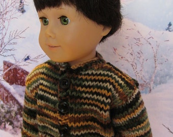 18'' Boy Doll Camo Sweater, Camo colors , Browns, Tans, Greens and Black Yarn. Winterwear, Outdoorwear, Playwear, Funwear,Everydaywear