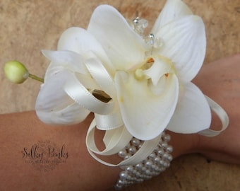 Silk Wedding Flower, Ivory Wrist Corsage, Ladies Wedding Flower, Cream Wrist Corsage, Silk Flower Corsage, Real touch Orchids
