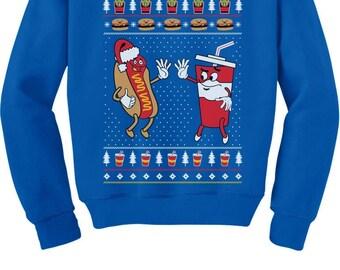 Funny Junk Food Burger & HotDog Ugly Xmas Youth Kids Sweatshirt