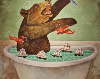 Bear in a Bathtub by Elizabeth Foster art print