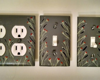Hand-painted light switch plate & outlet cover set; metal with acrylic; grey, black, green, red, white; floral motif