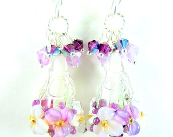 Purple Violet White Floral Glass & Crystal Cluster Dangle Earrings Colorful Pastel Spring Nature Inspired Jewelry Botanical Flowers Lampwork
