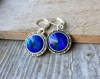 Swarovski Crystal Marine Blue Rivoli Earrings 12mm