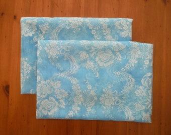 2 Vintage Blue Floral Flocked Drapery Panels - 1960's Shabby Chic Blue Nylon Netting Flock Flowers Fabric - 1960's Blue Shabby Curtains