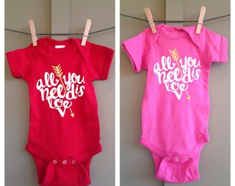 All You Need Is Love bodysuit, all you need is love, Arrow, Valentine's Day, love is all you need, baby shower gift,  valentine outfit, baby