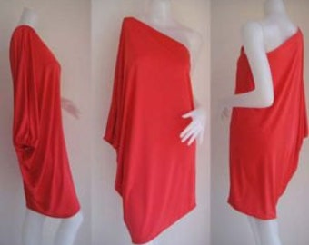 Red one shoulder Short evening dress casual elegance all size