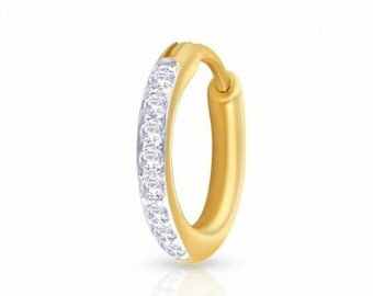 KuberBox 0.09 Carat Real Diamond 18K Gold Nose Ring (Yellow Gold, White Gold, Rose Gold)