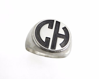 Men monogram ring. College ring. Initials ring. Silver monogram ring. Men initial band. Mens initial ring. college silver ring. Circle ring