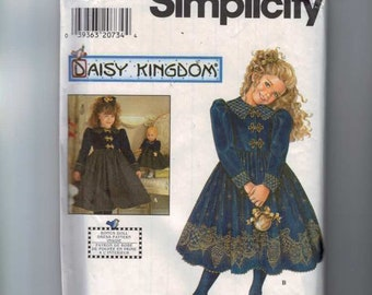 Girls Sewing Pattern Simplicity 7788 Daisy Kingdom Holiday Party Dress 17 Inch Doll Dress Size 8 10 12 14 Breast 27 28 29 30 32 UNCUT