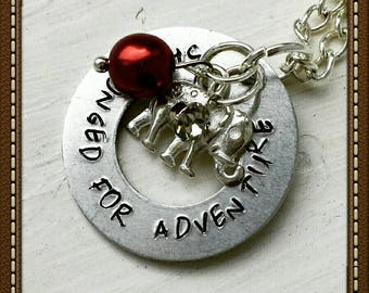 She Longed for adventure  stamped necklace