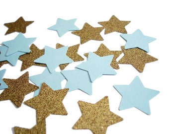 50 Twinkle Twinkle Little Star Light Blue Gold Star Confetti, Glitter Stars, Confetti Mix, Baby Shower, Birthday Party Decorations - No299