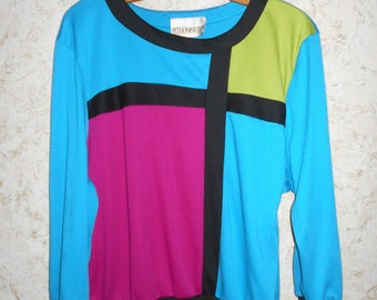 Vintage 90s Color Block Blouse Shirt Top Peter Popovitch Retro 3/4 Length Sleeves 1990s Retro Hip Hop Blue Pink Green Womens Size Large