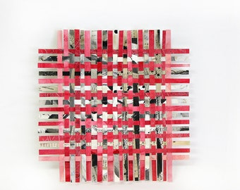 Red Paper Weaving- 8x8- Crossword Puzzles- Handwoven Paper Art- Original Mixed Media- Red, Pink, Black, White