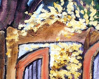 Garden Gate     Adobe in Taos, New Mexico  Santa Fe Abstract Painting impressionistic color joyful art