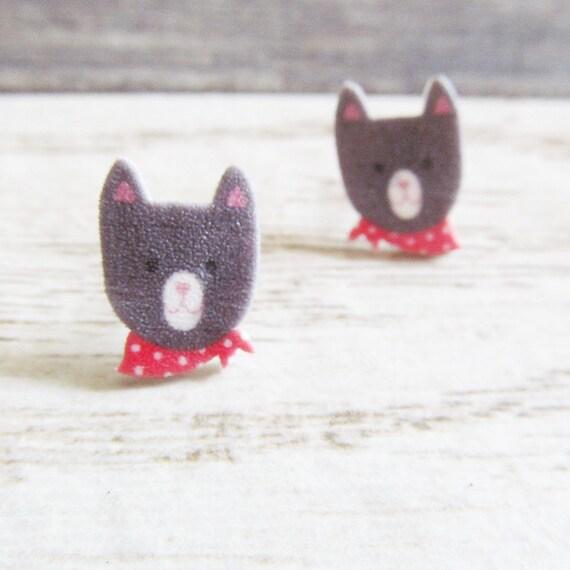 Small, gray, white, cat, red scarf, earrings, shrink plastic,  stainless stud, handmade, les perles rares