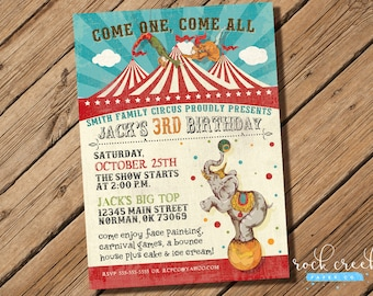 Vintage Circus Invitation, Circus Birthday Party, Big Top Party, Trapeze Artists, Elephant, Printable Birthday Party Invitation