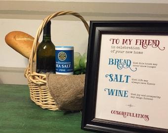 Home Blessing, Bread Salt Wine Poem, housewarming print, Housewarming Gift Basket, new home gift, It's a Wonderful Life, House Warming Gift