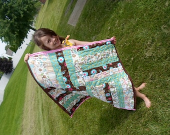 Pink Border Flower Power Quilt, Baby Blanket, Flower Blanket, Baby Shower Gift