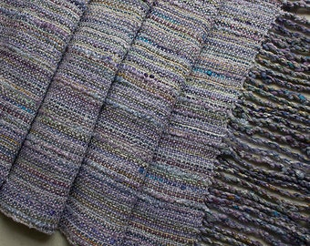 "Handwoven Hand-dyed Wrap/Shawl with Twisted Fringe, Lavender Mist - 88""x14.5"""