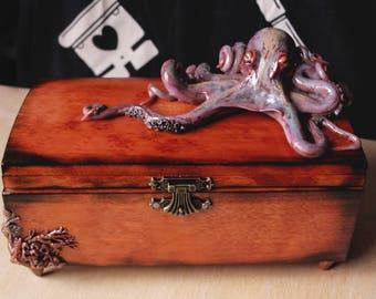 Octopus wooden handmade box sea creature shells gift box violet ocean tentacles octopus box