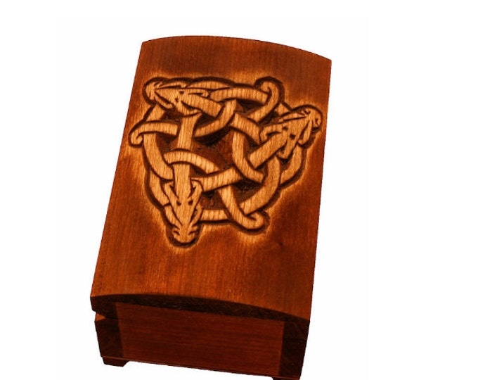 Wooden historical jewelry box with hand carved Celtic dragons pattern