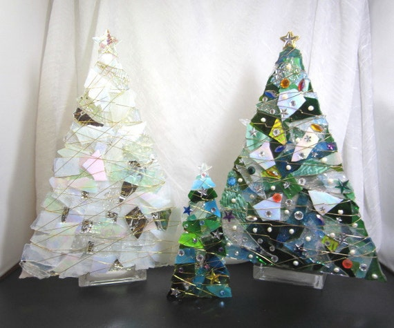 Glass Christmas Tree Votive Ice Clear And White