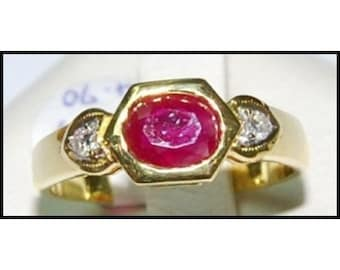 Solitaire Ring 18K Yellow Gold Diamond Wedding Ruby [RS0024]