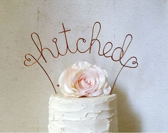 HITCHED Wedding Cake Topper, Rustic Wedding Cake Decoration, Personalized Wedding Cake Decoration, Bridal Shower Wedding Cake Topper