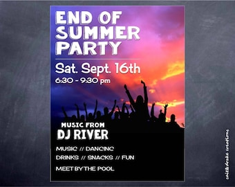 End of Summer Party Social Flyer Digital Printable!