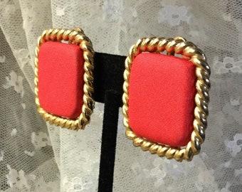Leuchtend roten Stoff Gold Ton Platz Ohrringe unsigniert Clip auf 1980 große Fett Seil umrandet Karrieretag tragen Schmuck Feminine Frau Chic