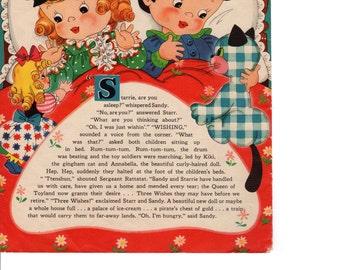 "Antique Nursery Art, Bedtime Stories, Original 1940s, Make a Wish, Rabbit & the Porcupine, Childrens 9.5"" x 12.5"", Linen"