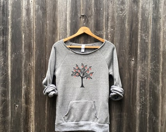 Old Orchard Cherry Tree Sweatshirt, Yoga Top, Cozy Sweater, Pullover, S,M,L,XL