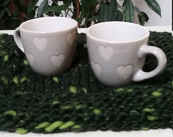 Coffee cups with hearts on hand made Placemat