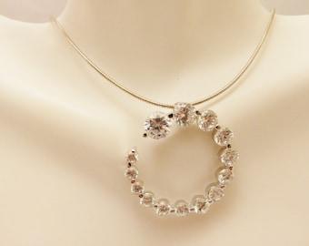 Vintage Rhinestone Circle Vintage Sterling Silver Necklace