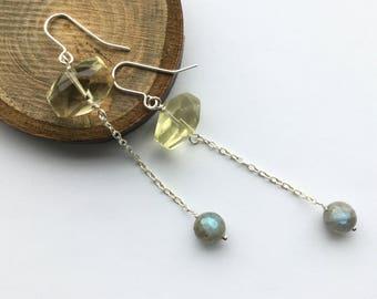 Lemon quartz earrings, yellow gem earrings, labradorite earrings, long dangle earrings, drop earrings, handmade earrings, lemon quartz